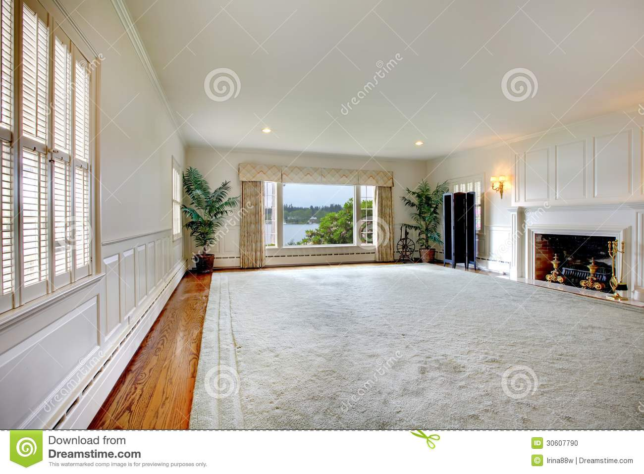 Large empty living room with fireplace and lake view for Big empty living rooms