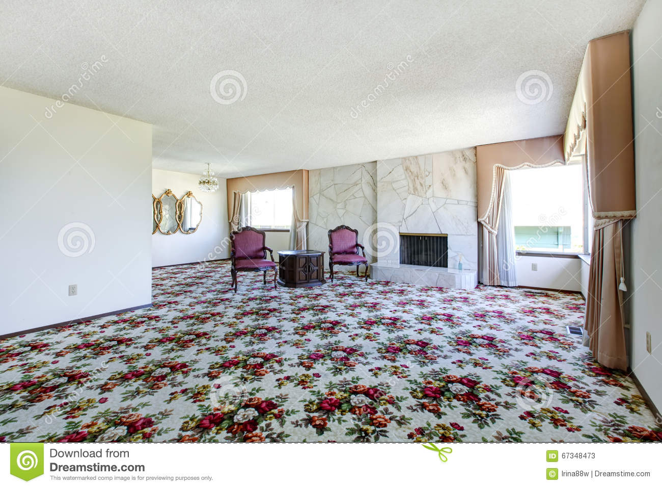 Large empty living room with floral patterned carpet fire for Floral pattern wall to wall carpet
