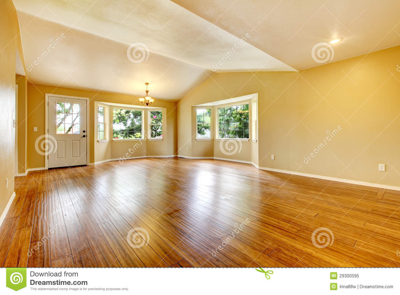 Royalty Free Stock Photo. Download Large Empty Newly Remodeled Living Room  With Wood Floor.