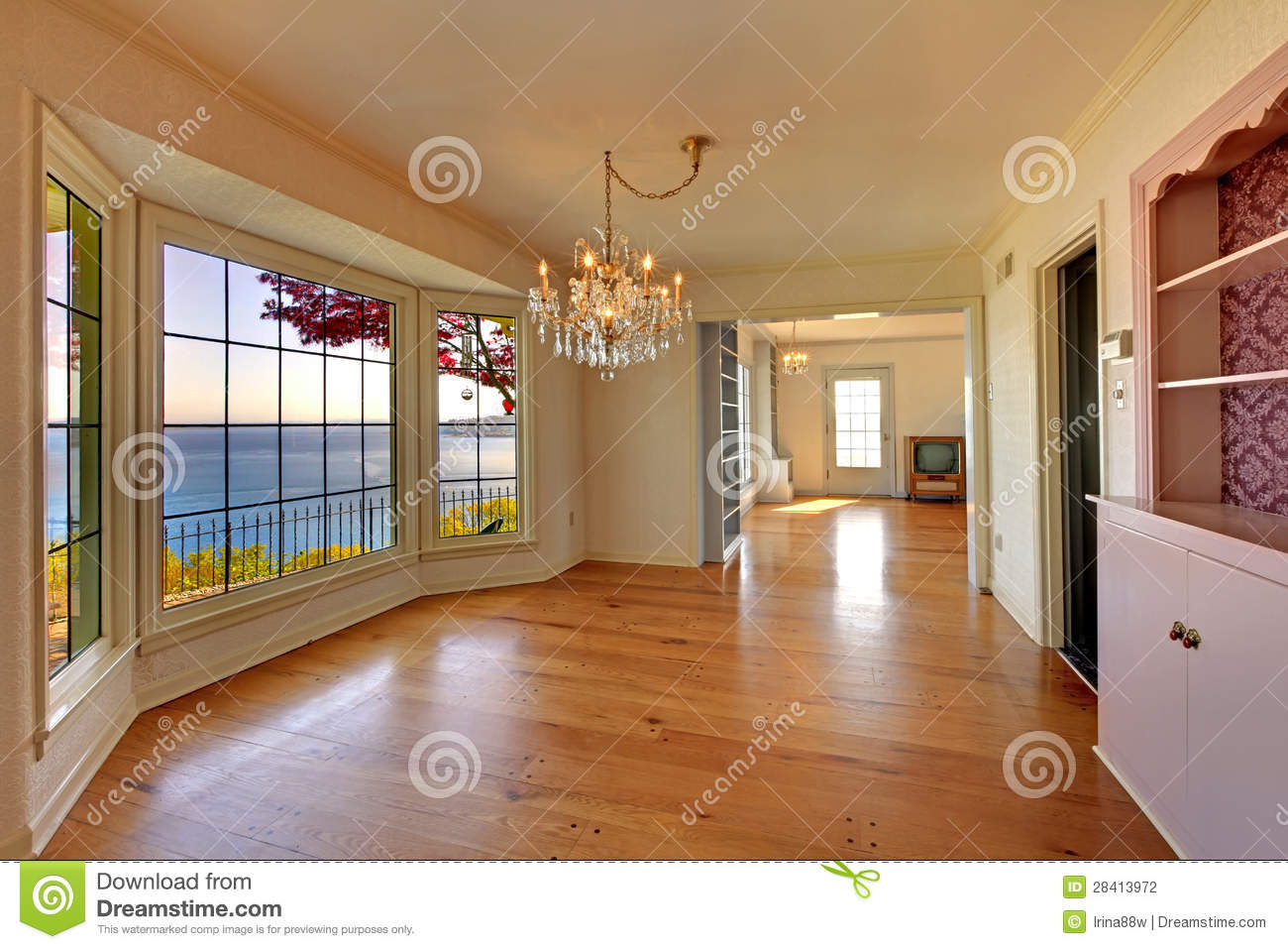 Large empty old living room interior with fireplace stock for Pictures of small living rooms with fireplaces