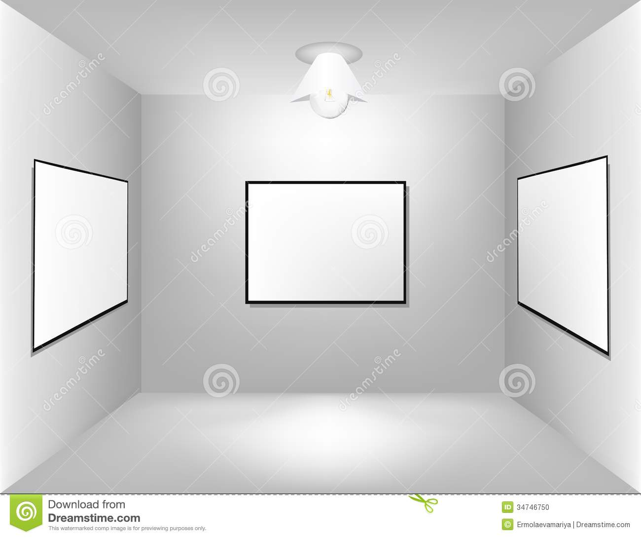 Large Empty Room With A Advertising Board Stock Photo