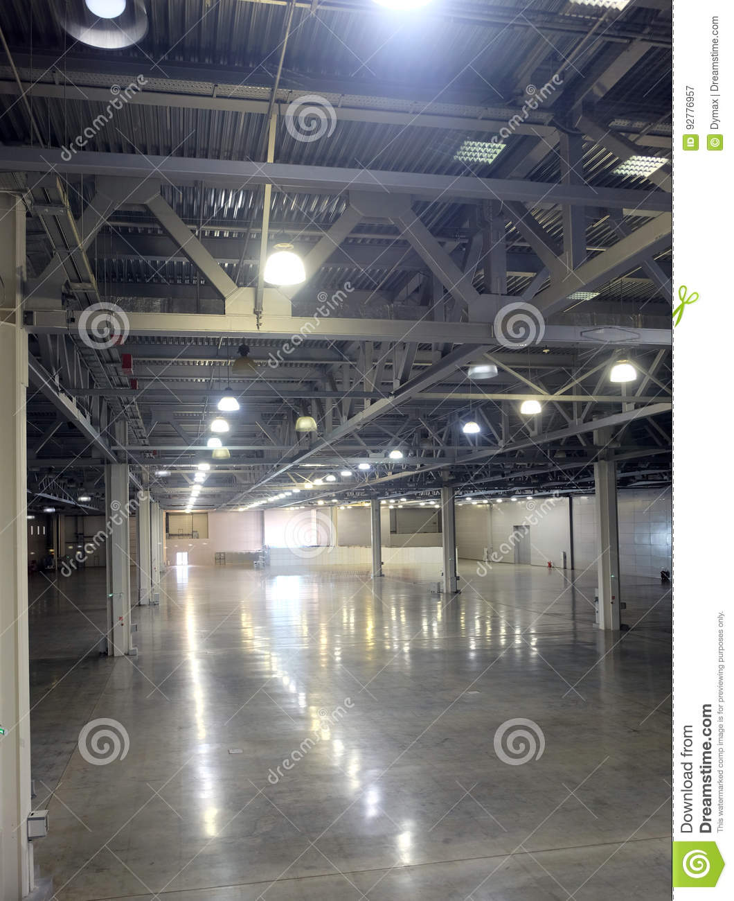 Large Empty Warehouse Inside In Industrial Building With A