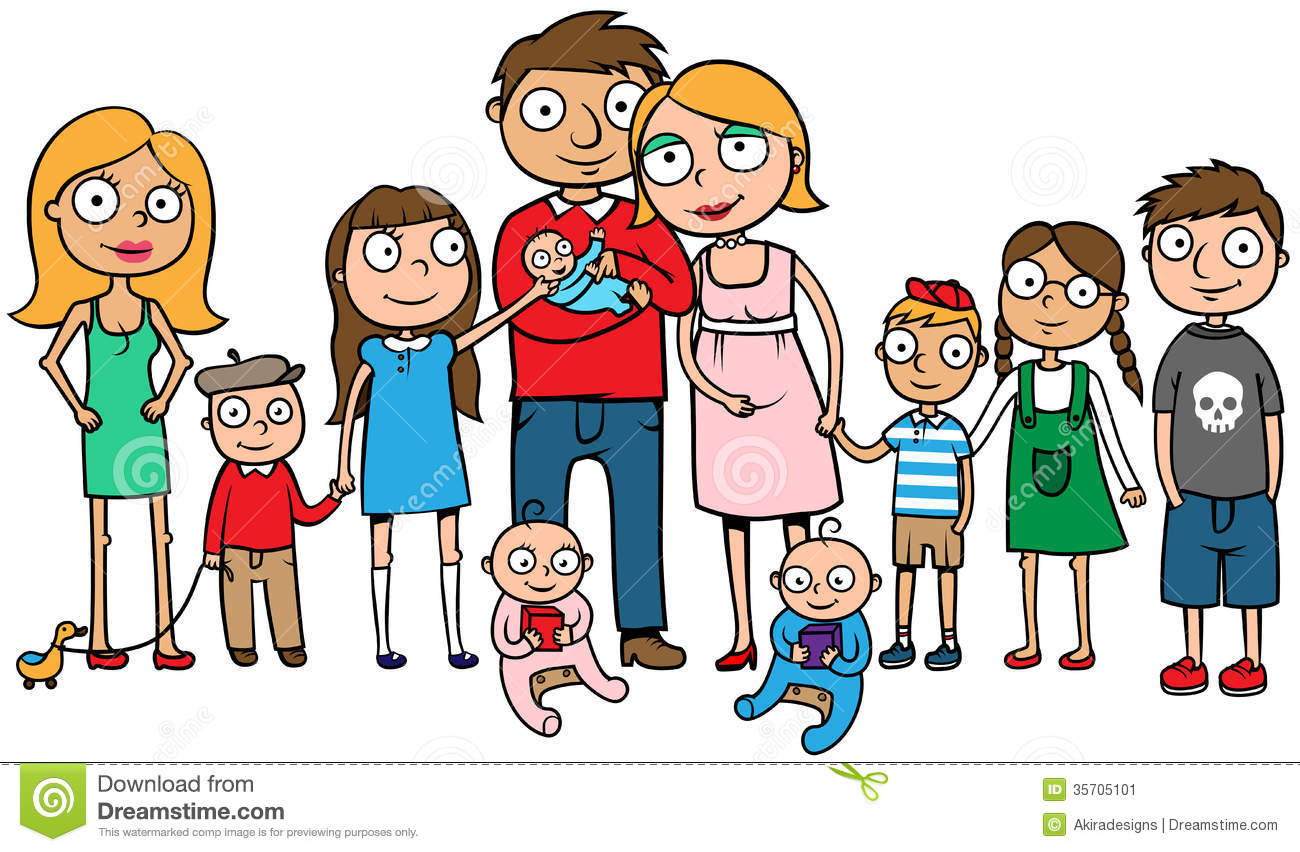 Large Family With Many Children Stock Vector