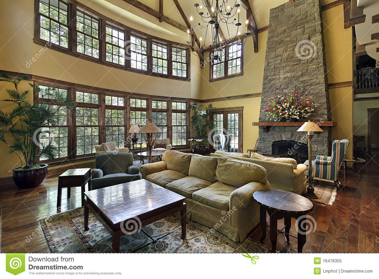 Large Family Room With Stone Fireplace Royalty Free Stock
