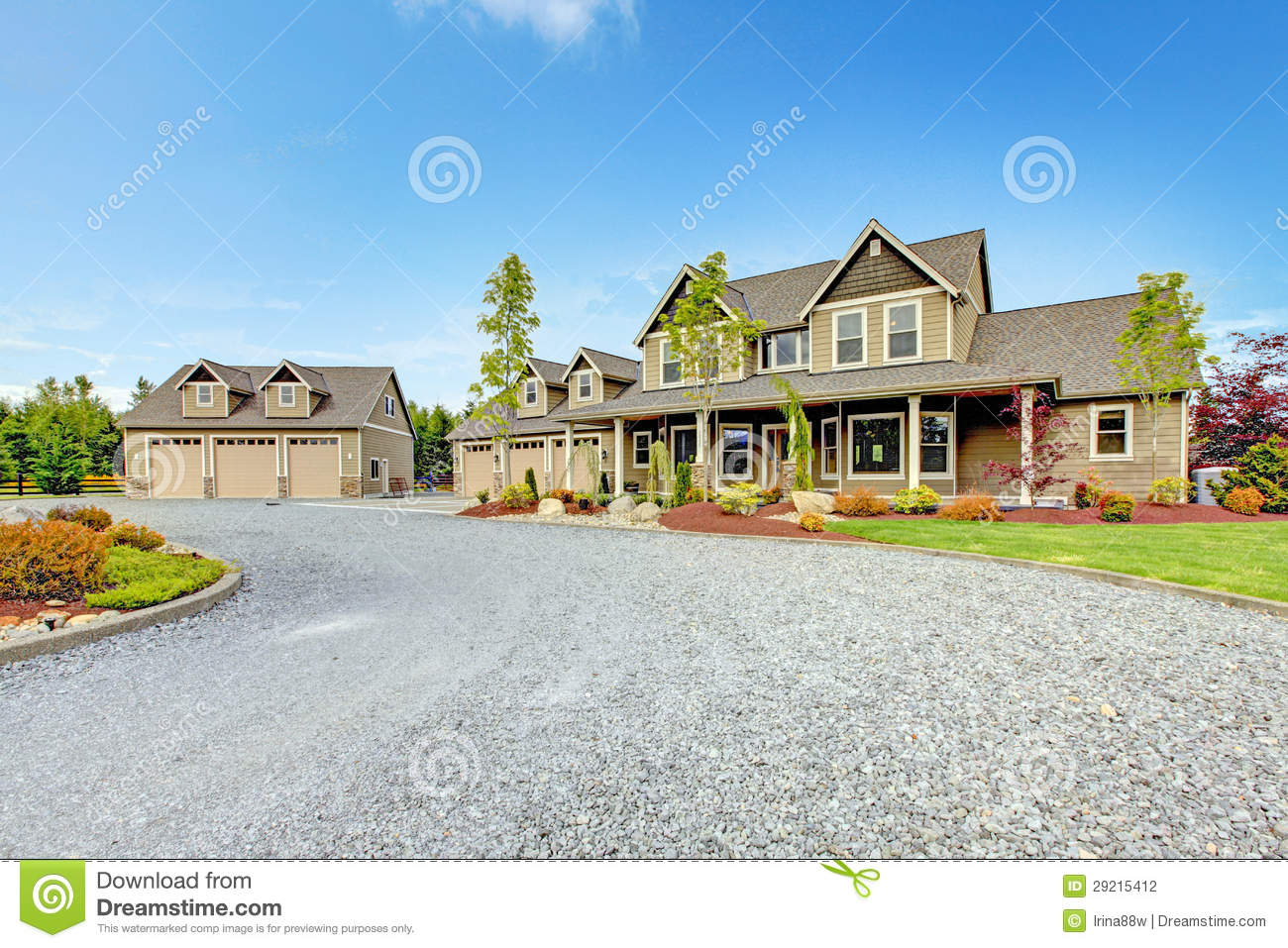 Large Farm Country House With Gravel Driveway And Green