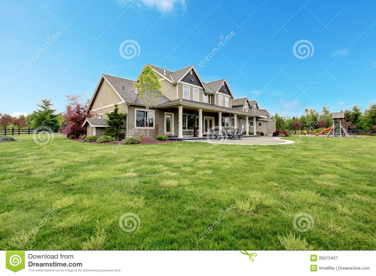 Large farm country house with spring green landscape for Country house online