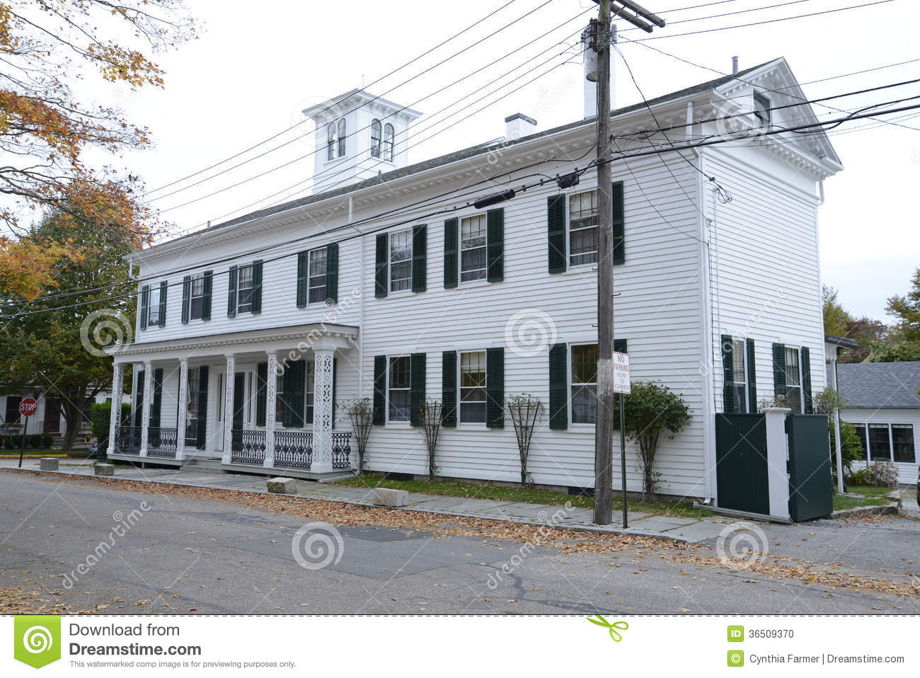 Large Federal Style House With A Cupola Stock Photo