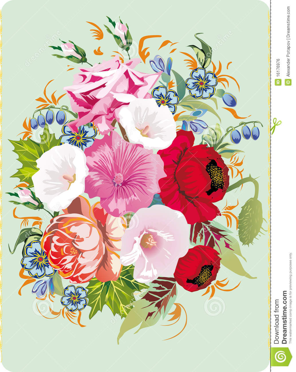 Large Flower Bouquet On Blue Stock Illustration Illustration Of