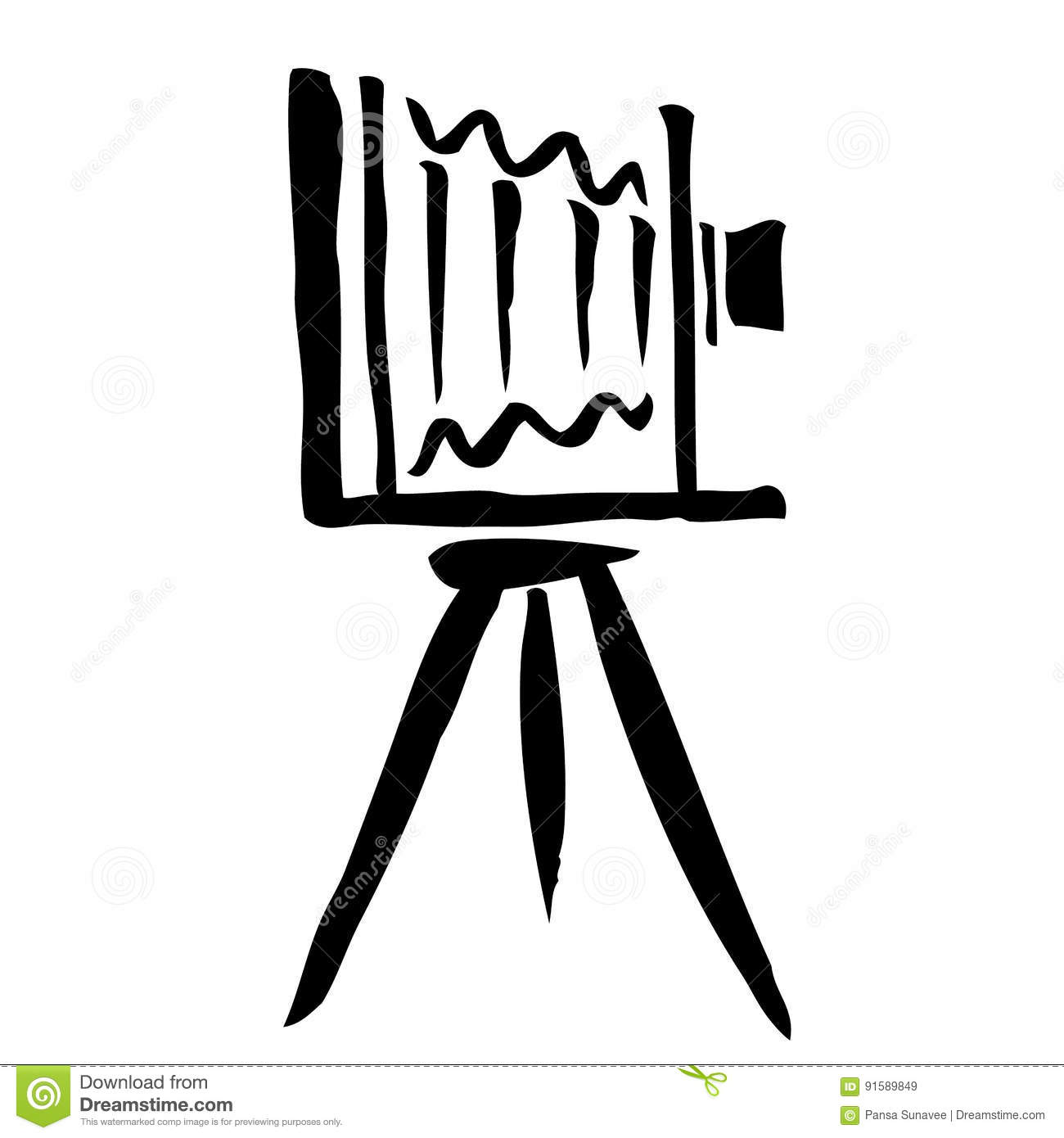 Large Format Camera Hand Drawn Stock Vector