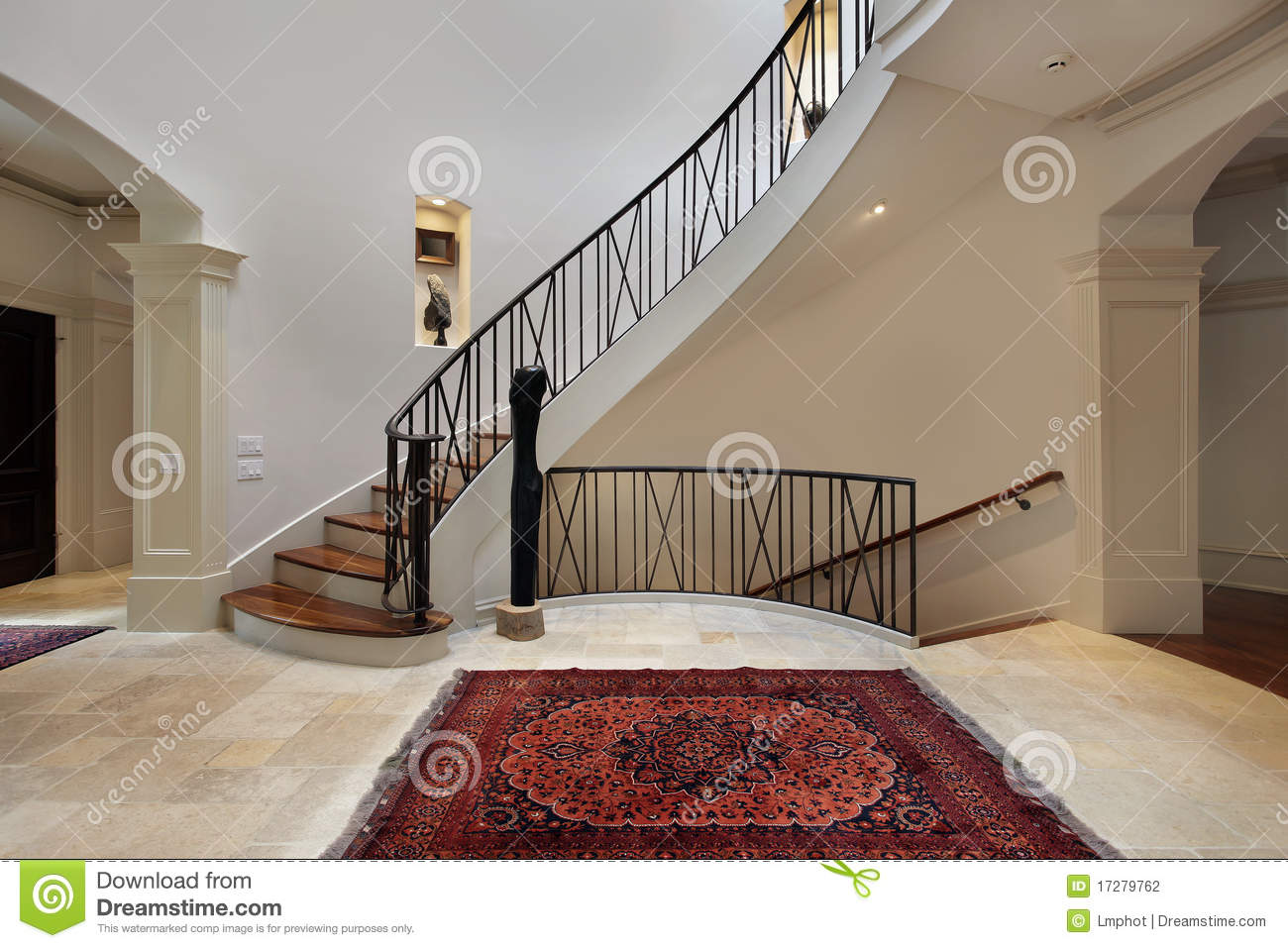 Large Foyer Pictures : Large foyer with circular staircase stock photo image