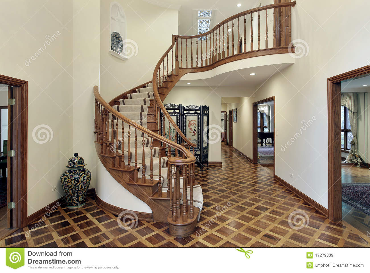 Foyer Area Xl : Large foyer with circular staircase stock image of