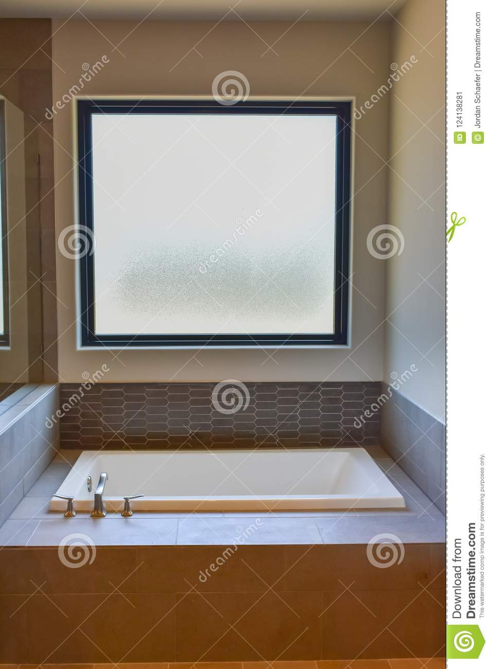 Large Frosted Picture Window In Bathroom Stock Image Image