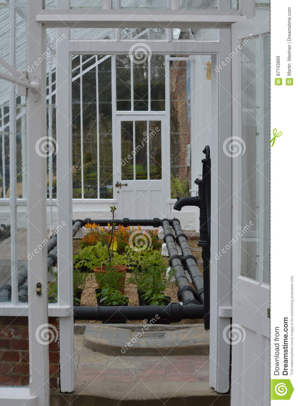 large garden glasshouse. stock photo - image: 87743889