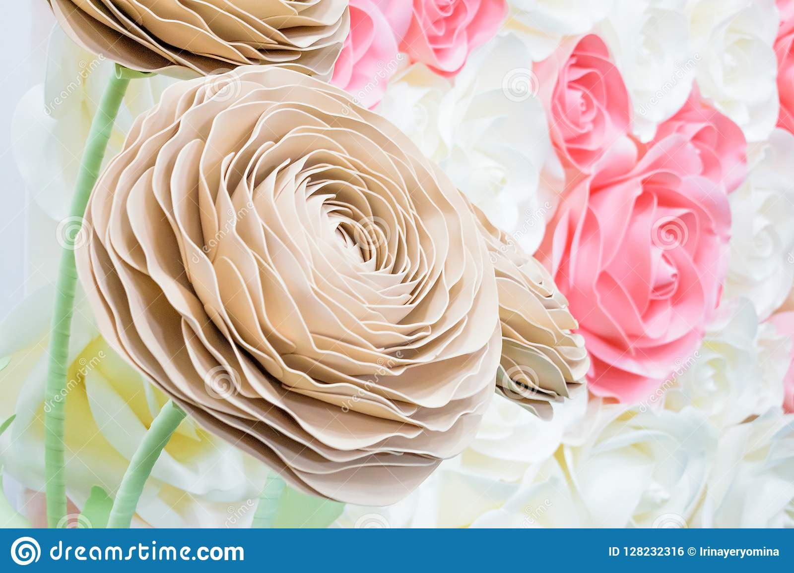 Large Giant Paper Flowers Big Pink White Beige Rose Peony Made