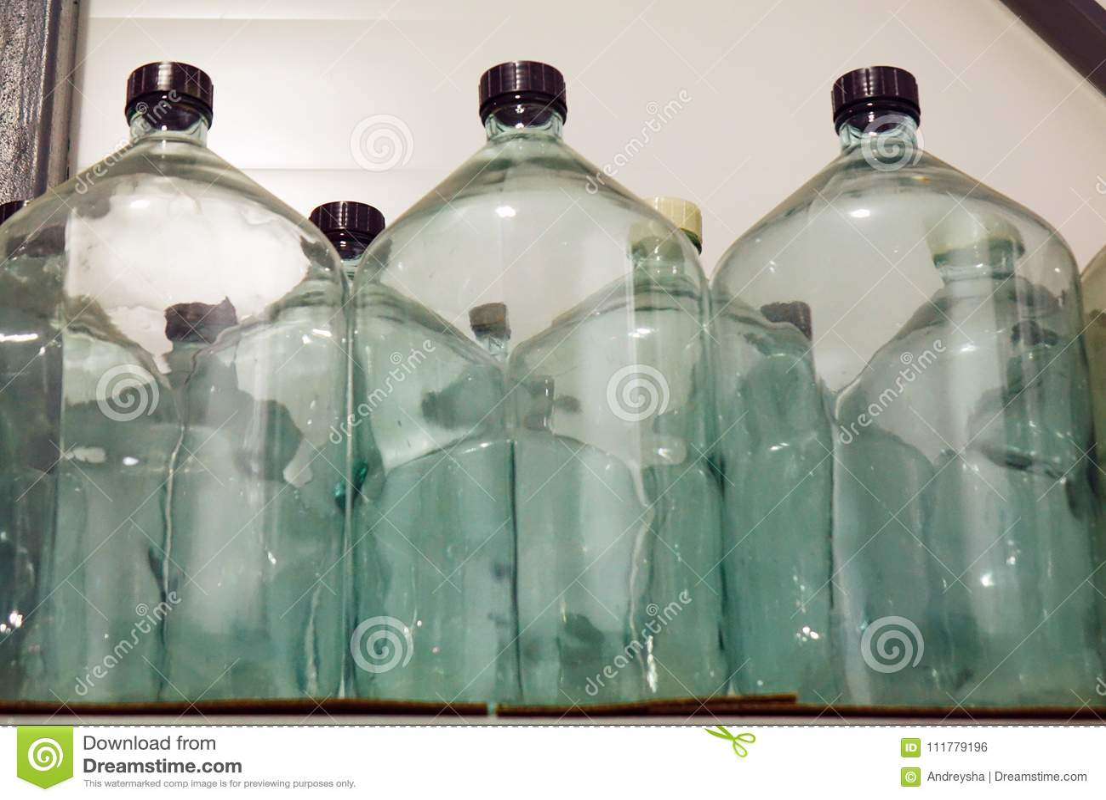Large glass bottles. storage