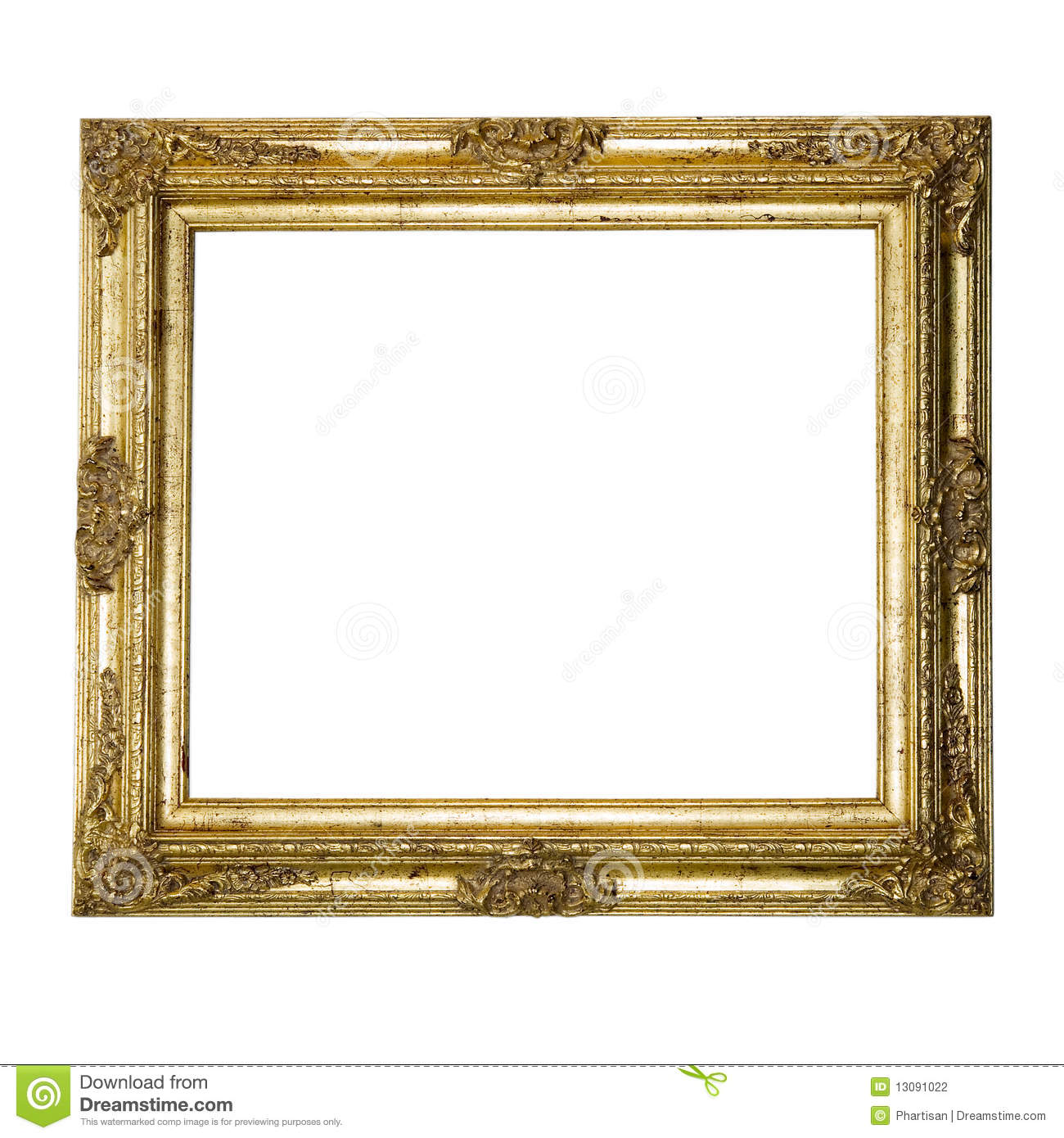 Large Gold Ornate Textured Picture Frame Stock Photography - Image ...