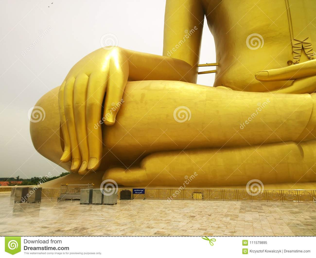 Large golden buddha statue with his big hand and fingers at WAT MUANG Muang Temple Ang Thong Province, THAILAND