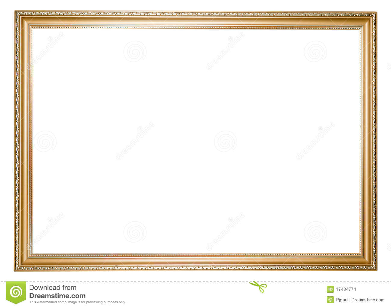 Large golden empty frame isolated in white stock photo for How to make a large picture frame