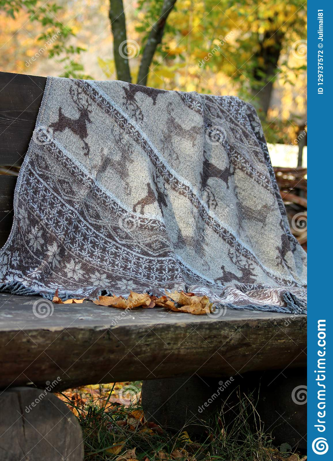 Magnificent A Large Gray Blanket With Deer For A Picnic Lies On A Large Machost Co Dining Chair Design Ideas Machostcouk