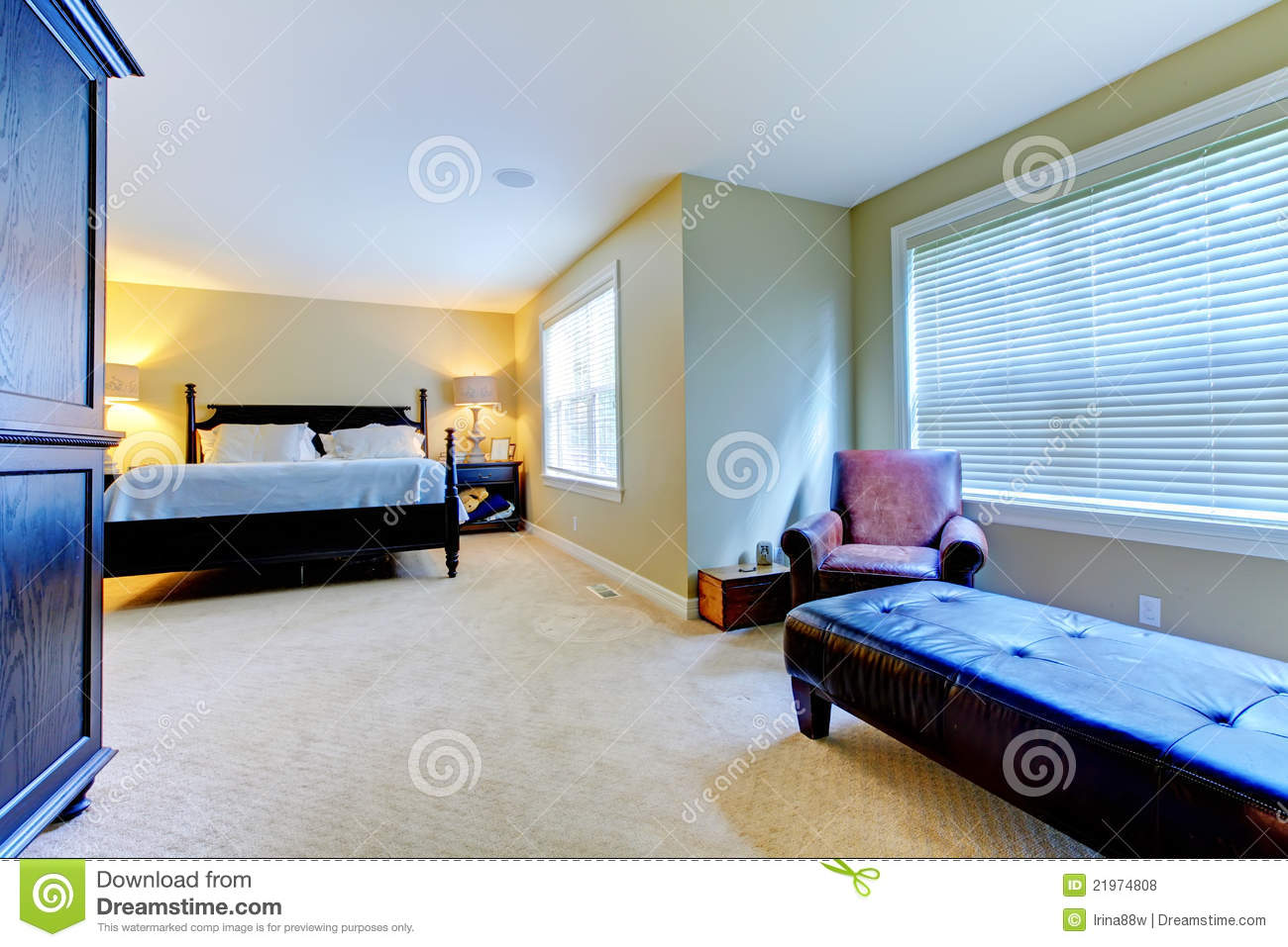 large green bedroom wiith extra room royalty free stock