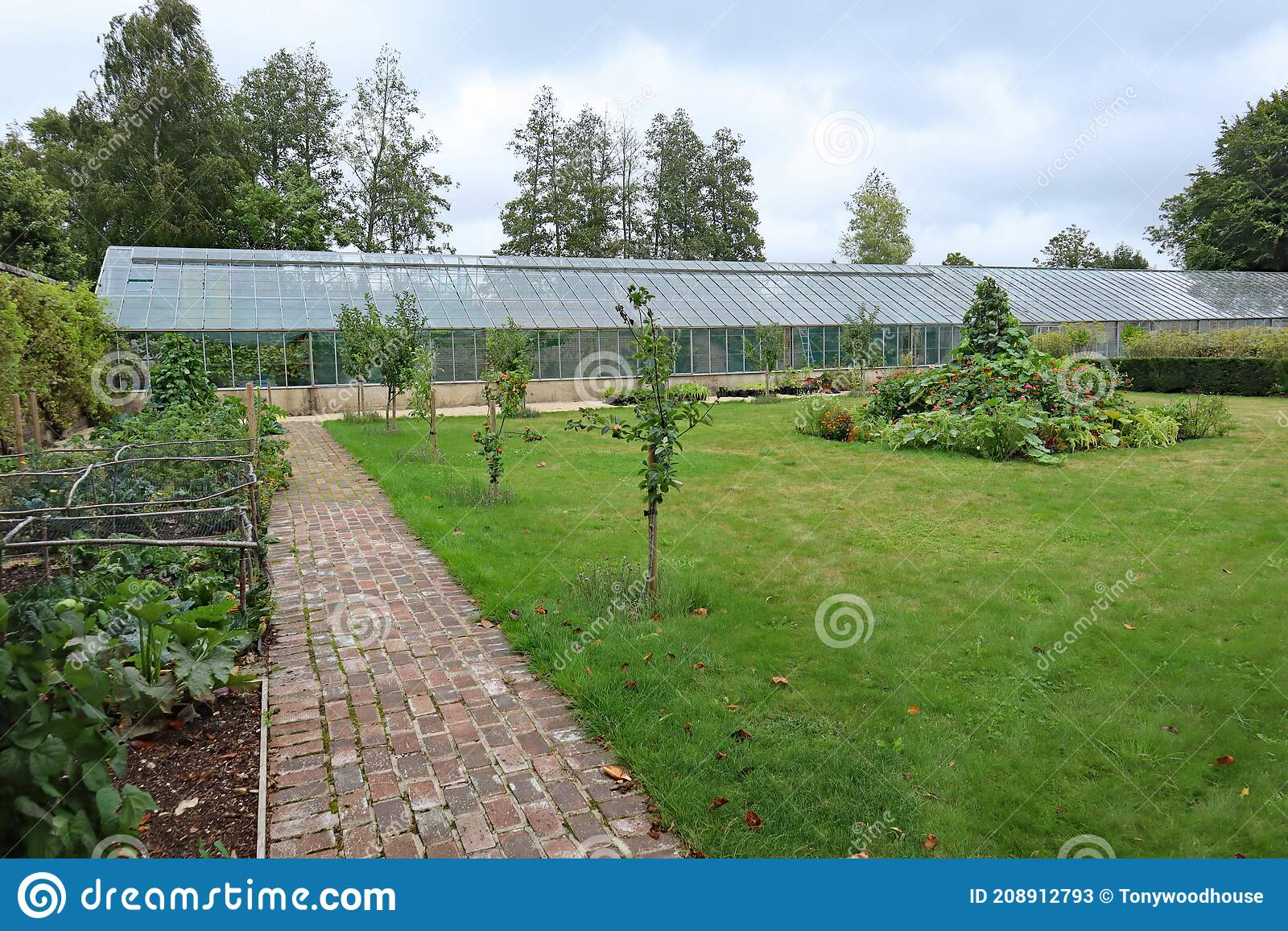 A Large Greenhouse In The Kitchen Garden Of An English Country House Stock Image Image Of Industrial Nursery 208912793