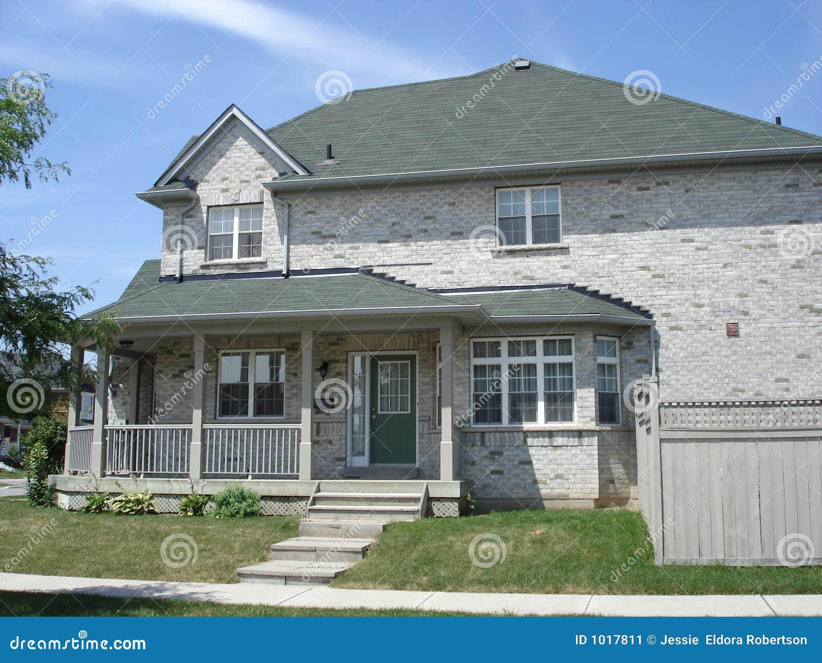 Large Grey Brick House Stock Image Image 1017811