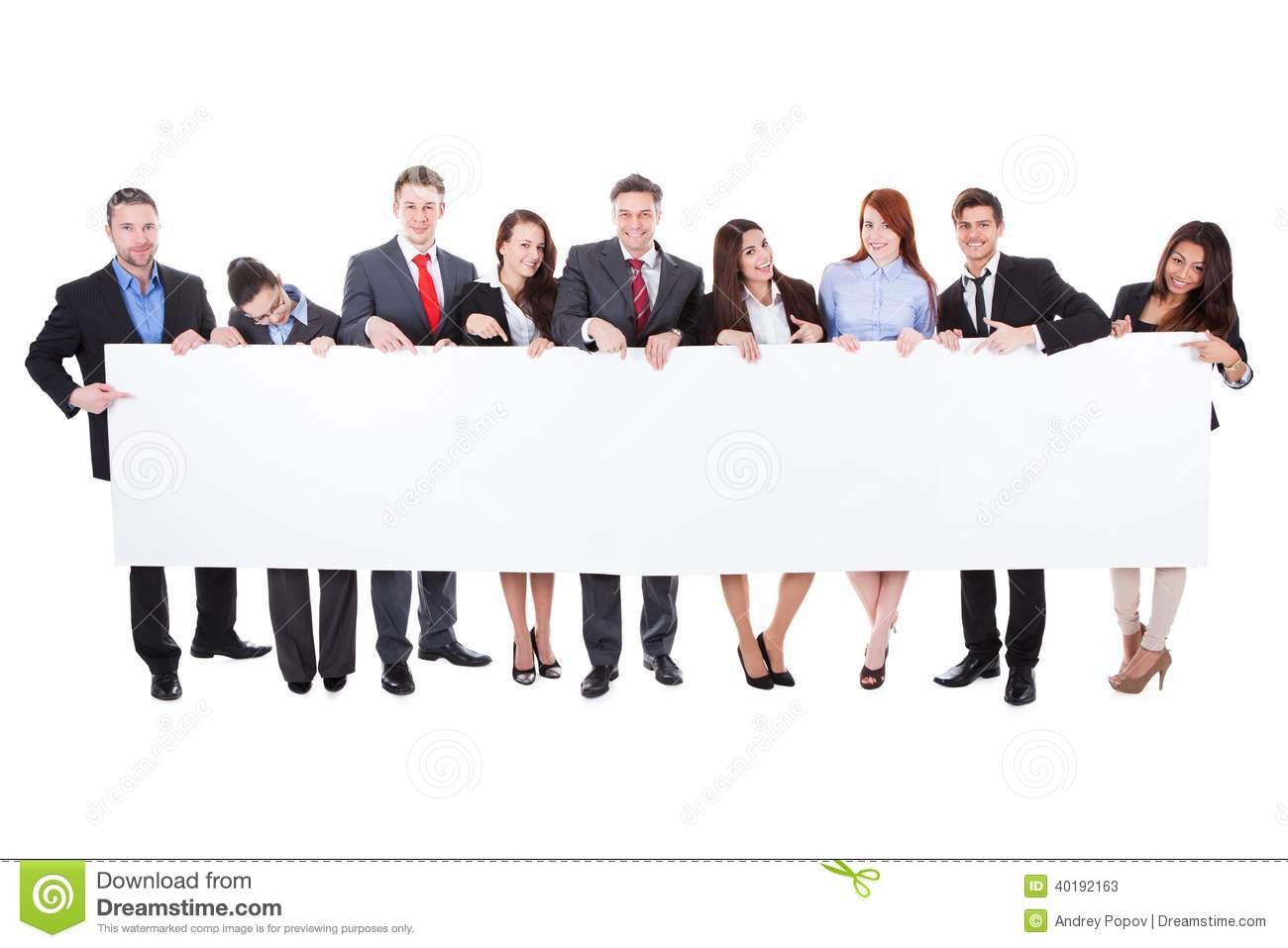 Stock Photos Large Group Businesspeople Presenting Banner Empty Isolated White Image40192163 on teacher business card design