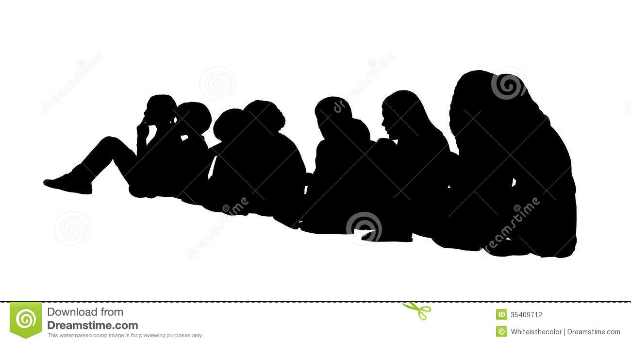 Large Group Of Children Seated Silhouettes 1 Stock ...