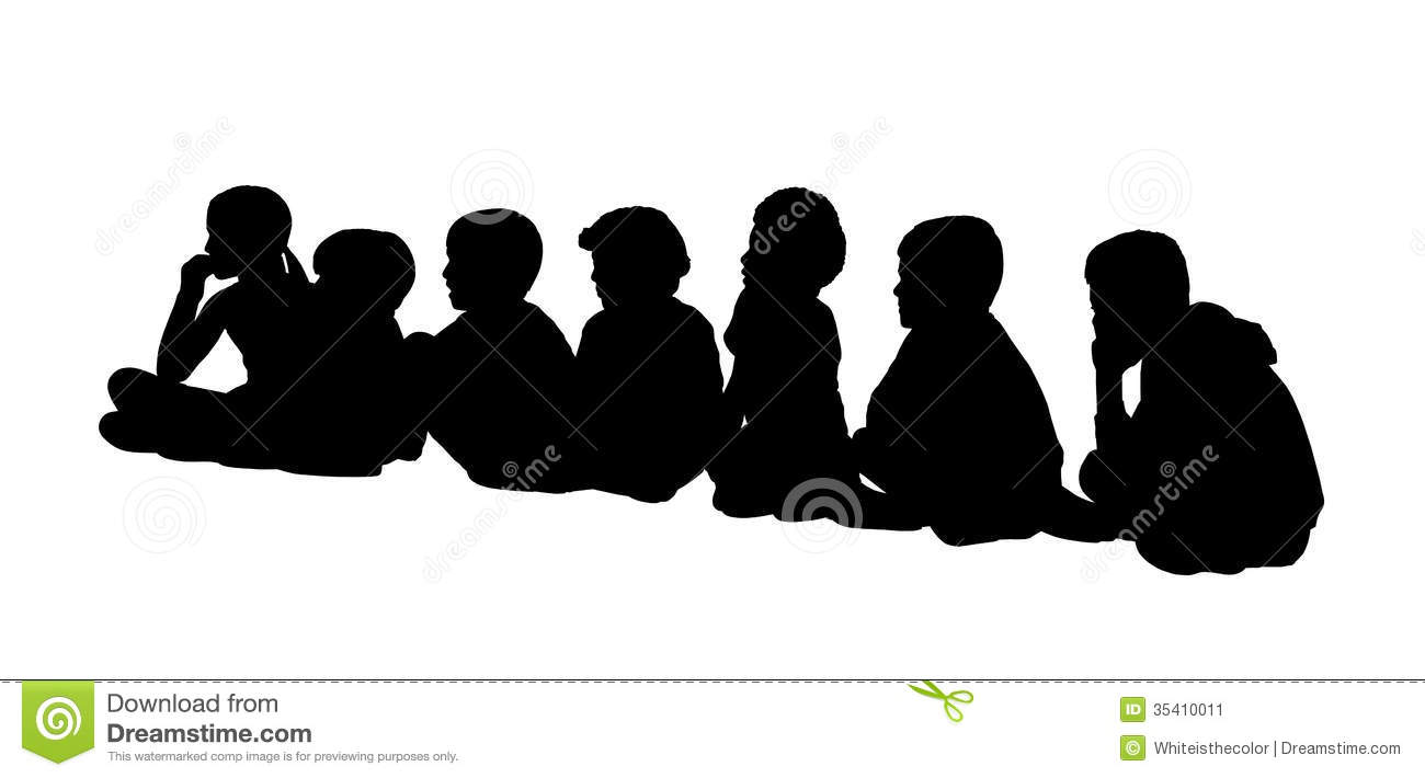 Large Group Of Children Seated Silhouettes 2 Stock ...