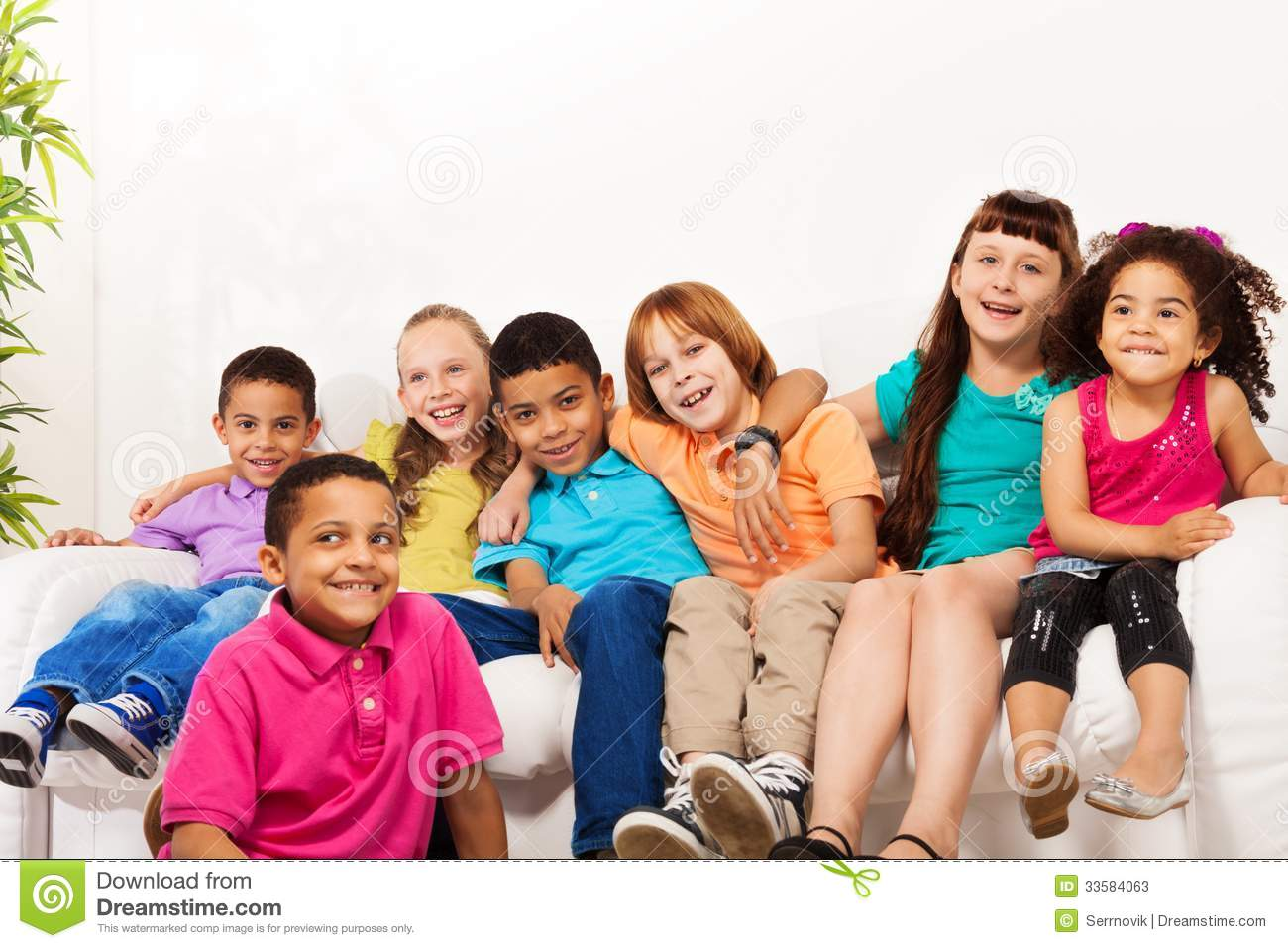 large group of cute kids at home stock image - image of lifestyle