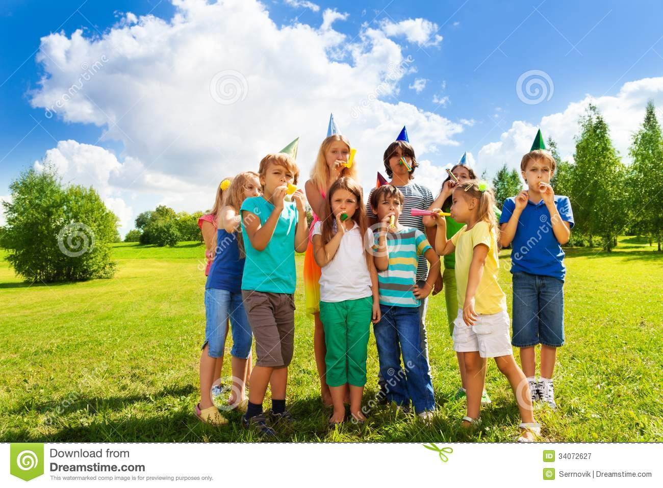 large group of kids on birthday party stock image image of