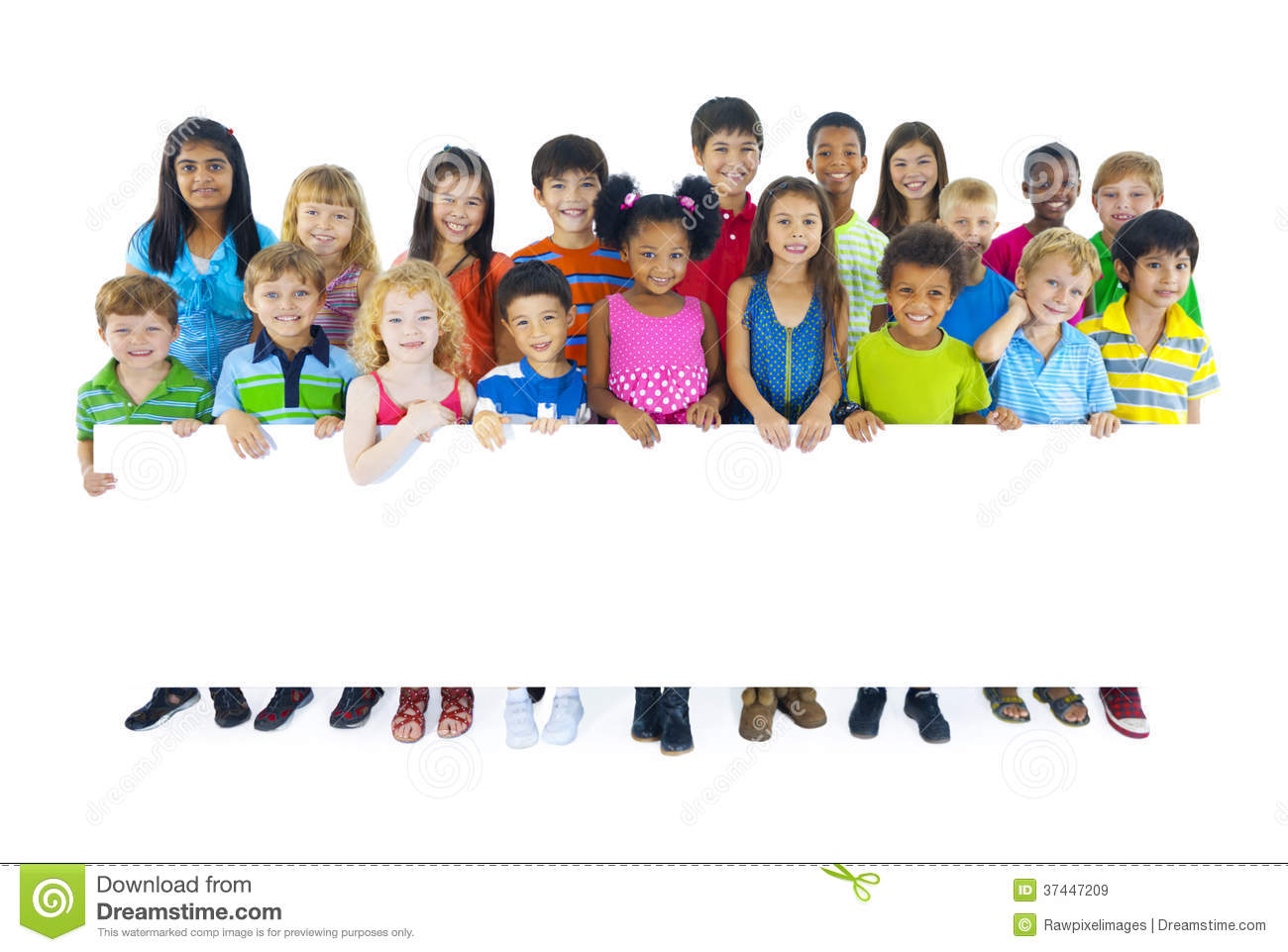 Large Group Of Kids Holding Board Stock Image - Image ...