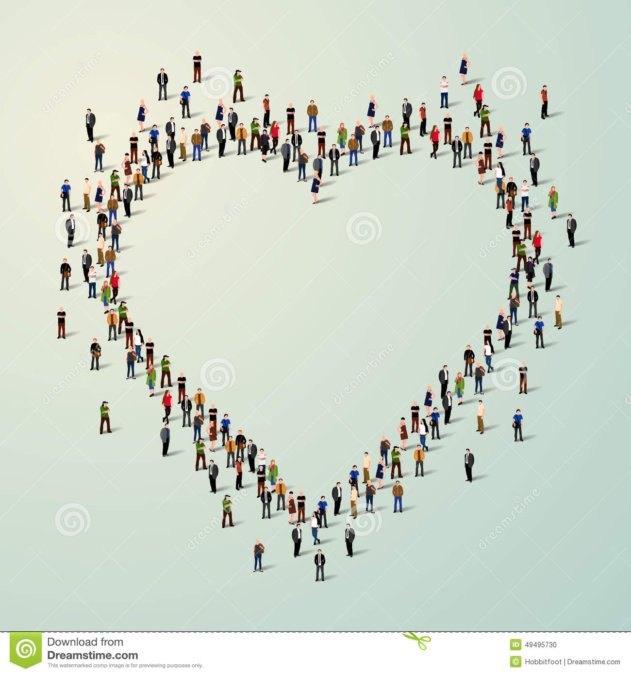 Large Group Of People In Heart. Stock Vector - Image: 49495730