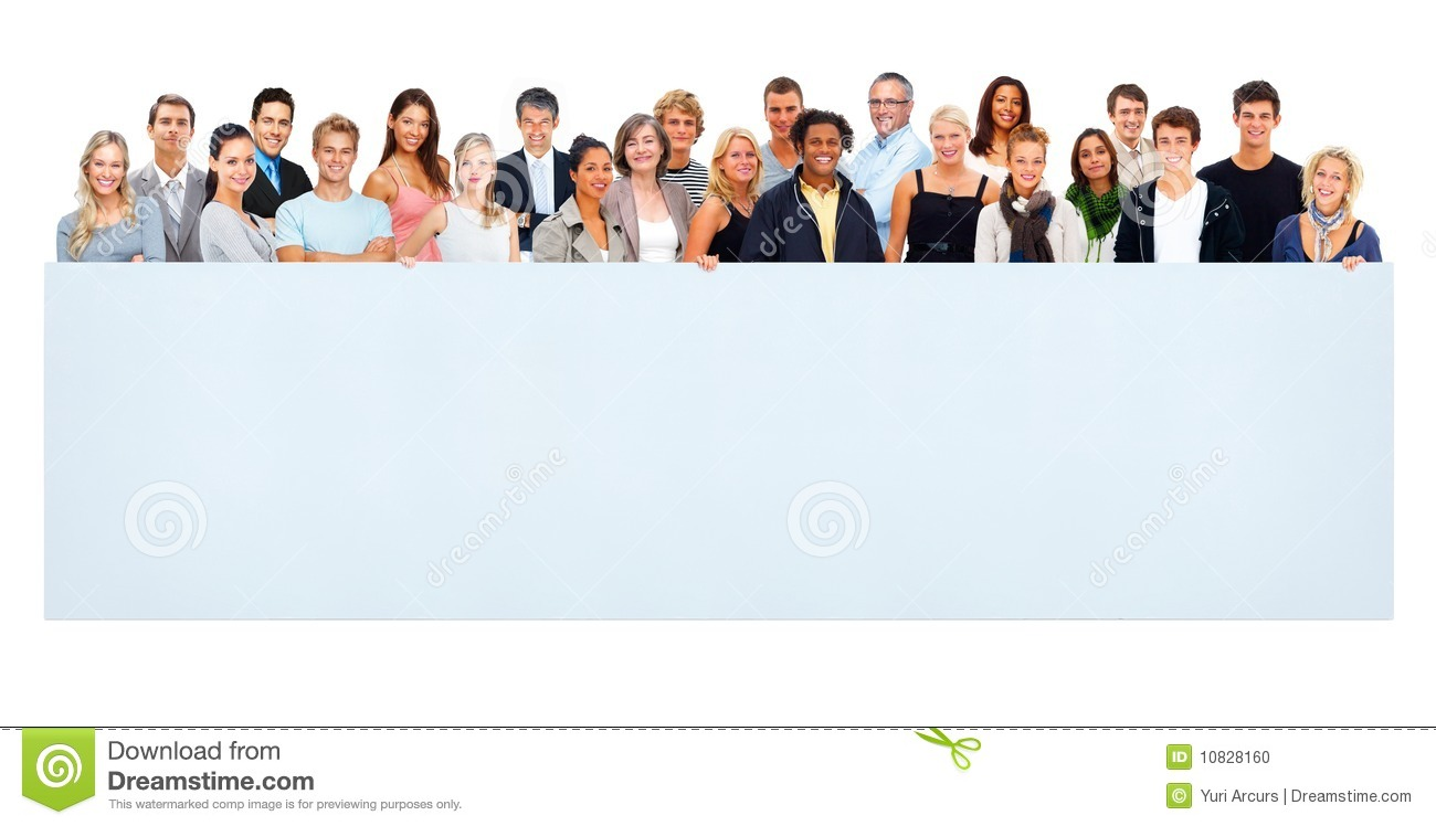 Large group of people holding an empty billboard