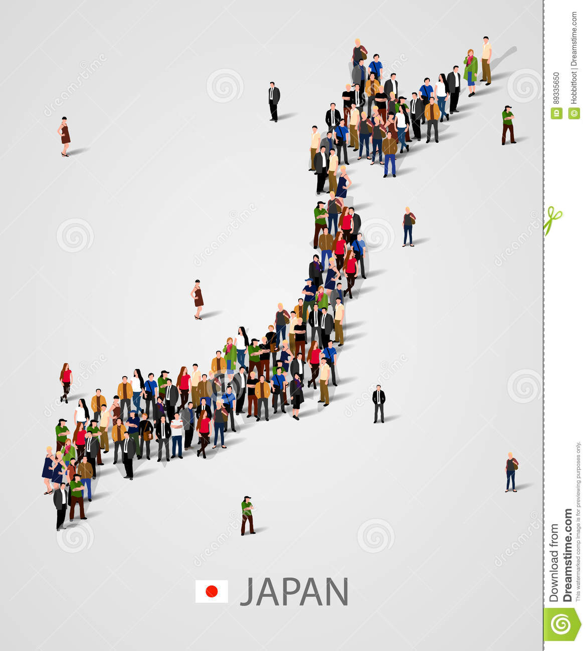 Large group of people in Japan map form. Background for presentation.