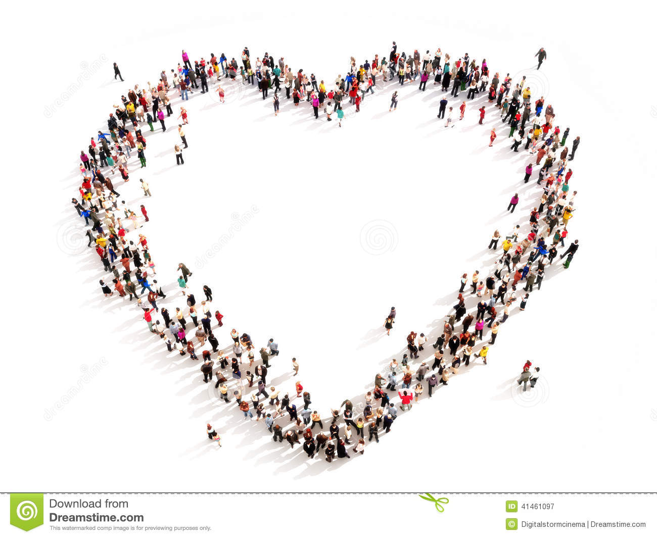 Large Group Of People In The Shape Of A Heart. Stock ...