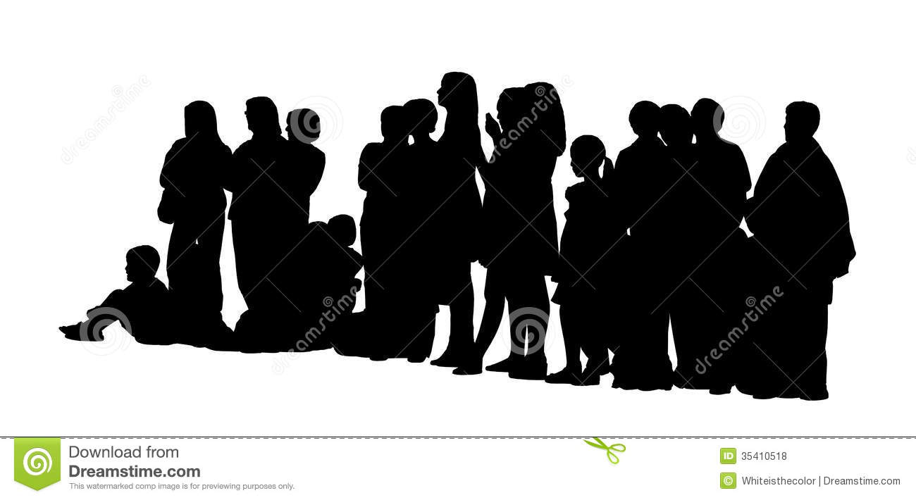 Large Group Of People Silhouettes Set 3 Stock Illustration ...