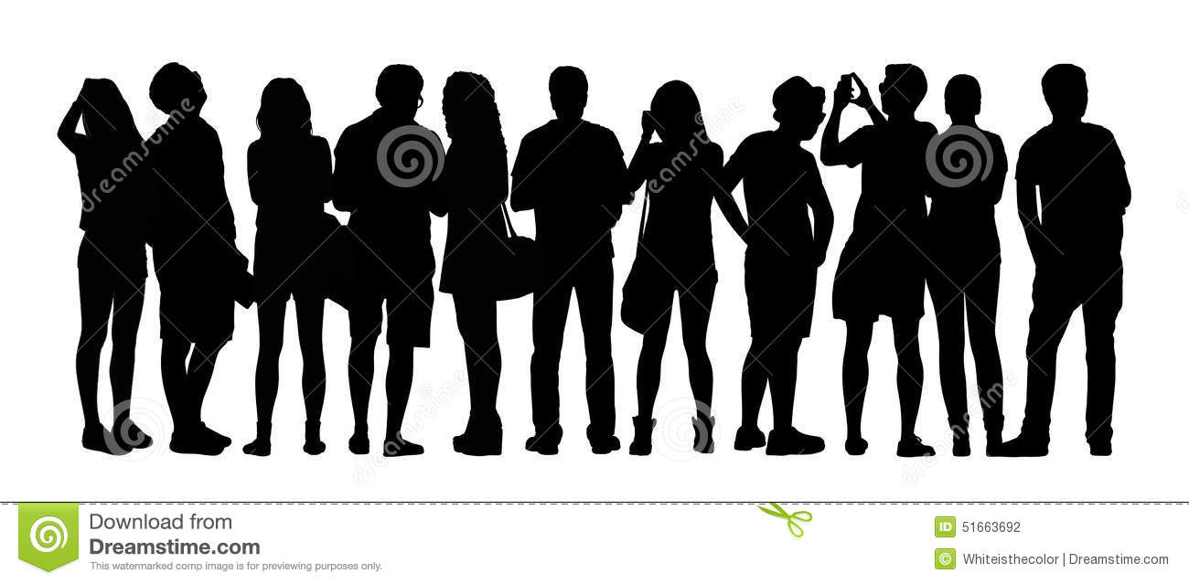 Large Group Of People Silhouettes Set 5 Stock Illustration ...