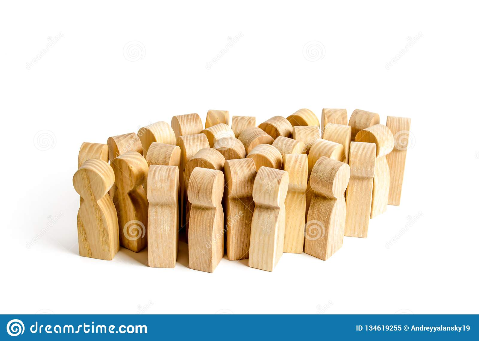 A large group of wooden figures of people. Society, community. social activity. Society, social group. Herd instinct, management