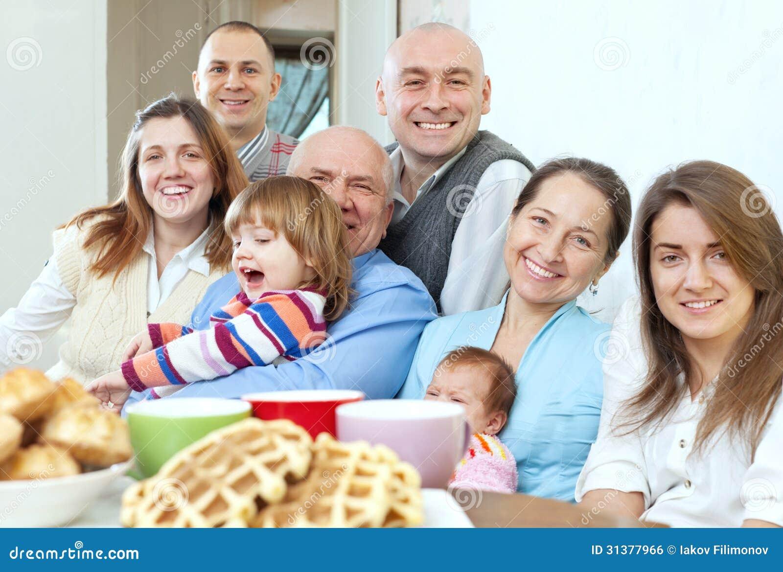 Large Happy Three Generations Family Royalty Free Stock