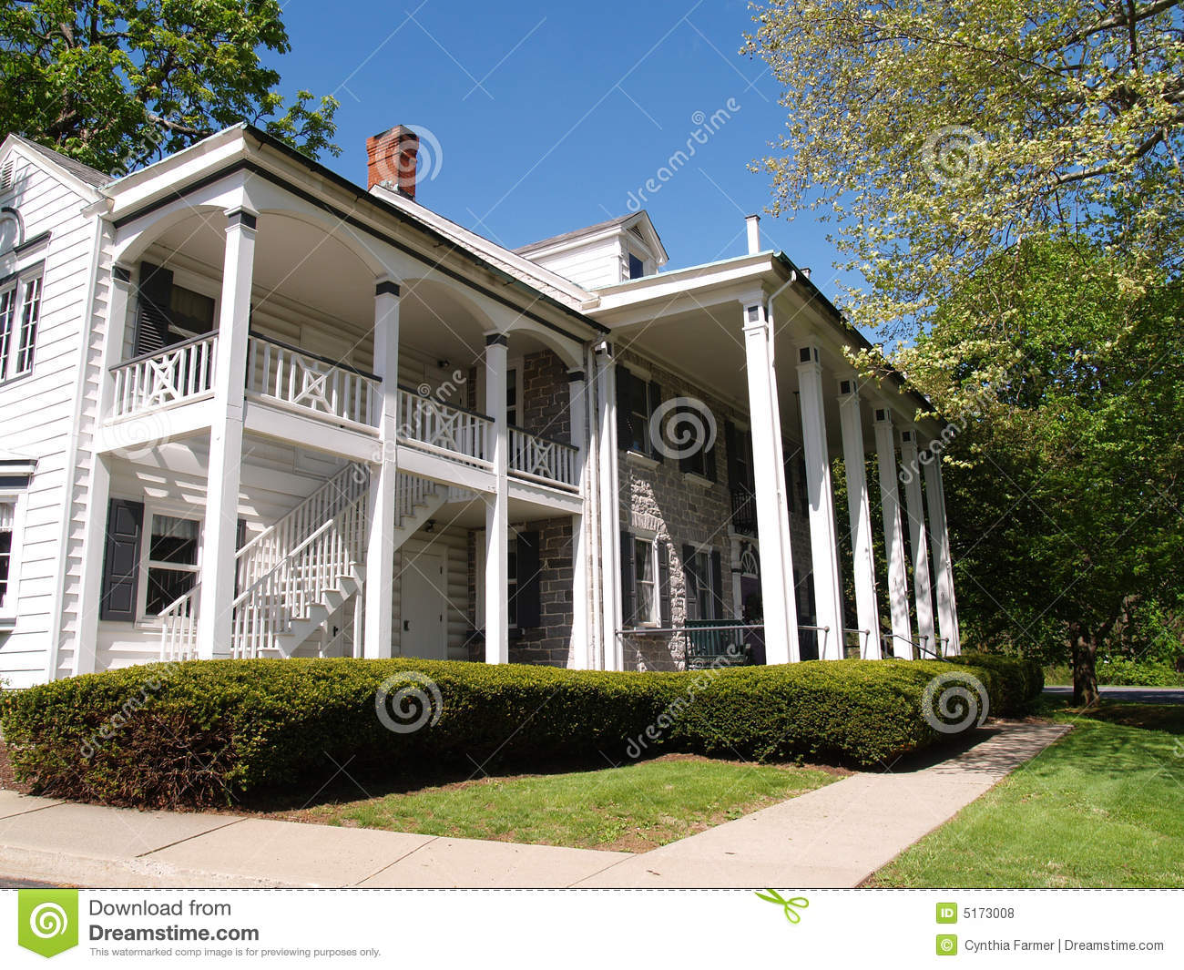 Covered front porch craftsman style home royalty free stock image - Royalty Free Stock Photo Balcony Columns Exterior Front Home Large Porch
