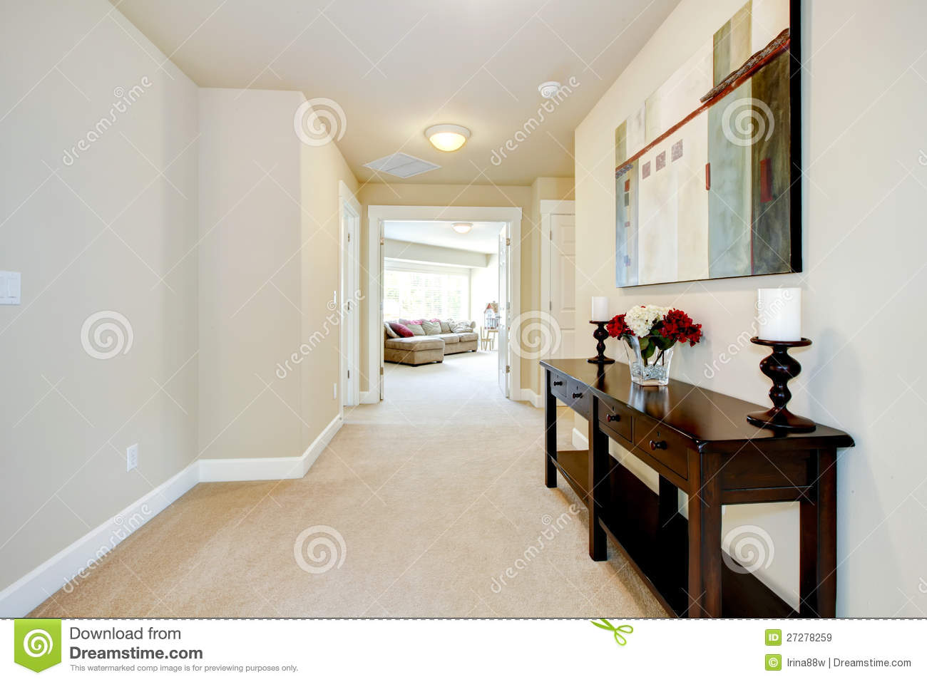 Large Home Hallway With Art And Furniture Royalty Free