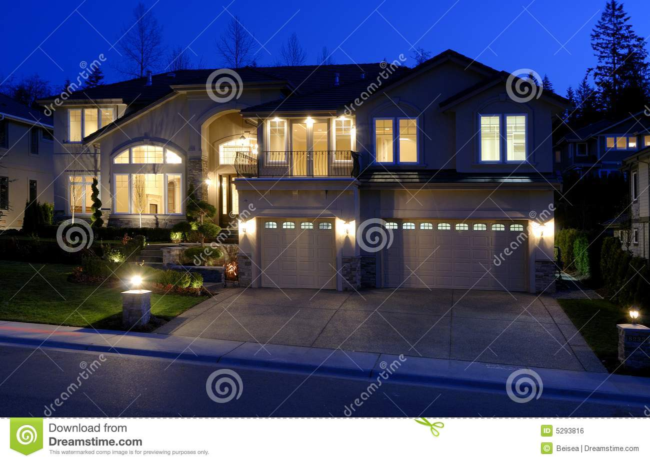 Large House At Night Stock Photo Image Of Garage Street