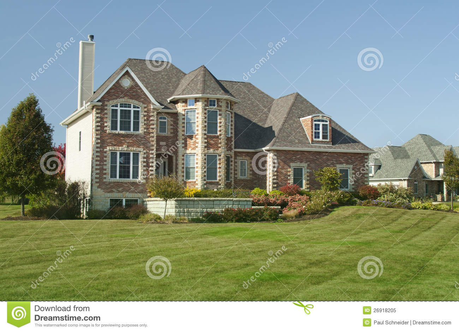 Large House With Three Car Garage Stock Image Image
