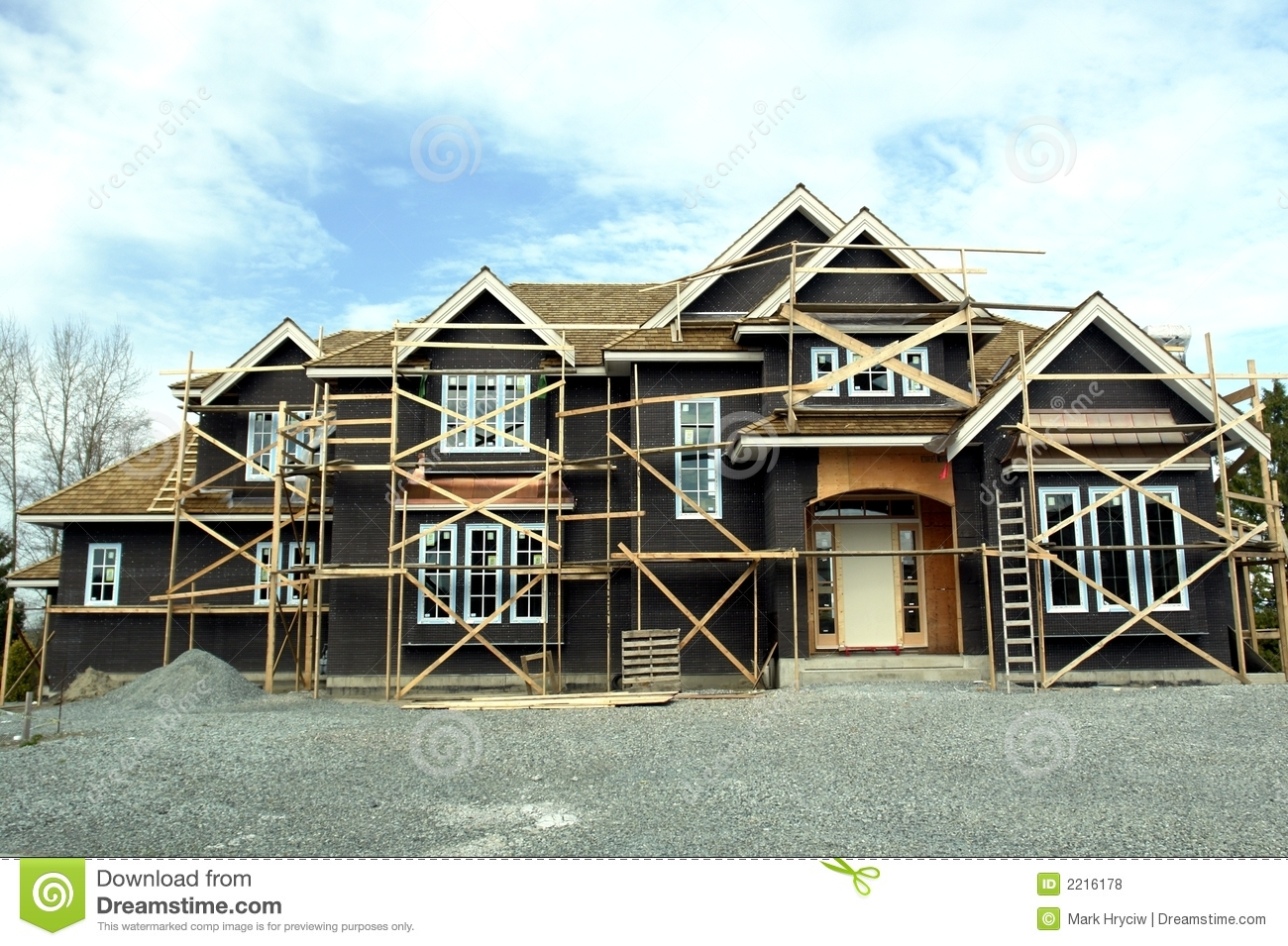 Large house under construction stock photo image of for Free home builder