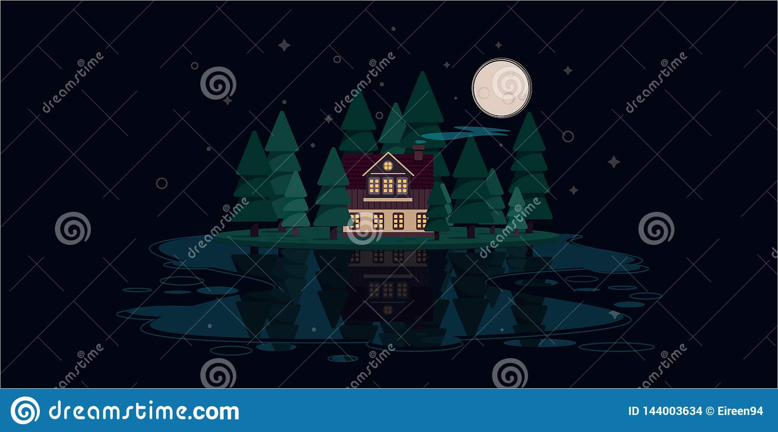 Large hut in the woods by the river at night