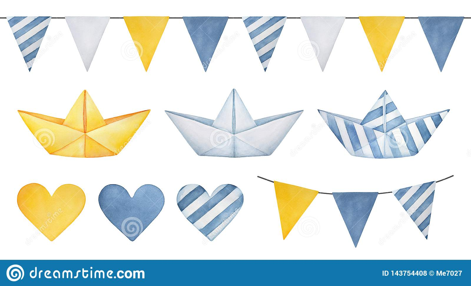 Large illustration collection of pennant banner garland, cute paper boats, various hearts and triangle flags.