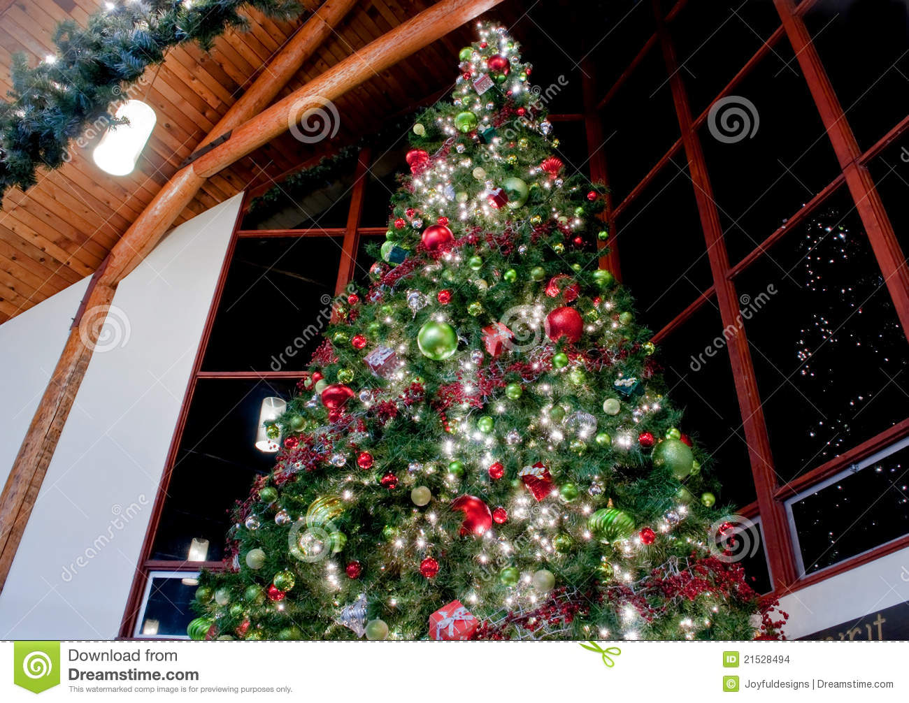Large indoor decorated christmas tree stock photo image Large decorated christmas trees
