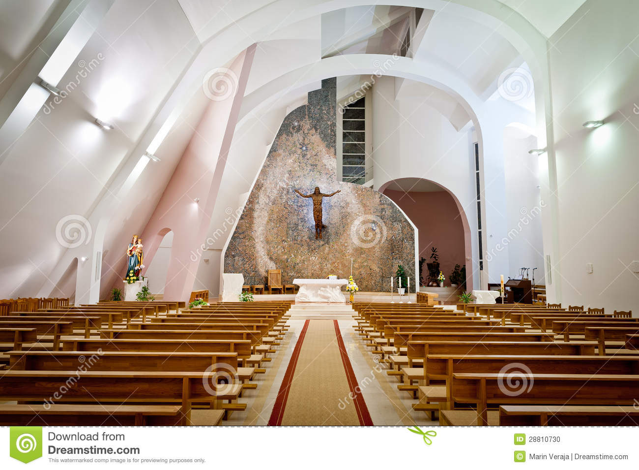 large interior of modern church stock photo