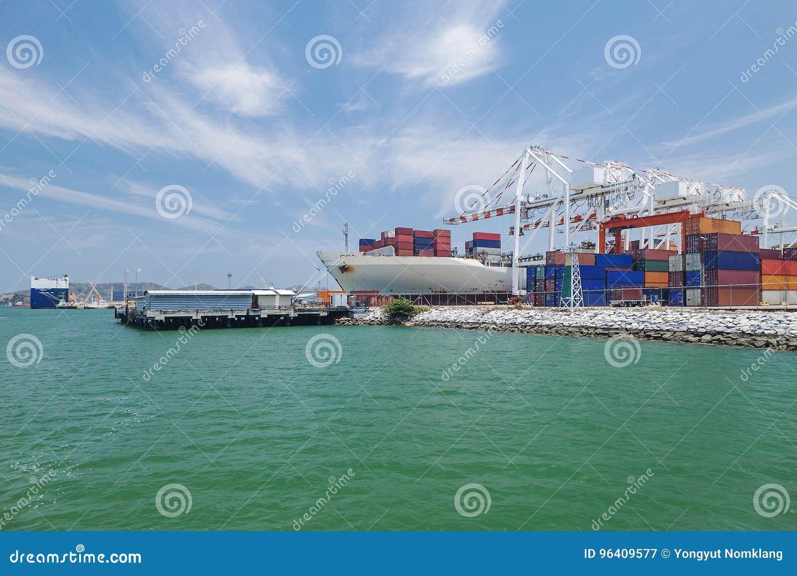 Large International Shipping Dock Stock Image - Image of